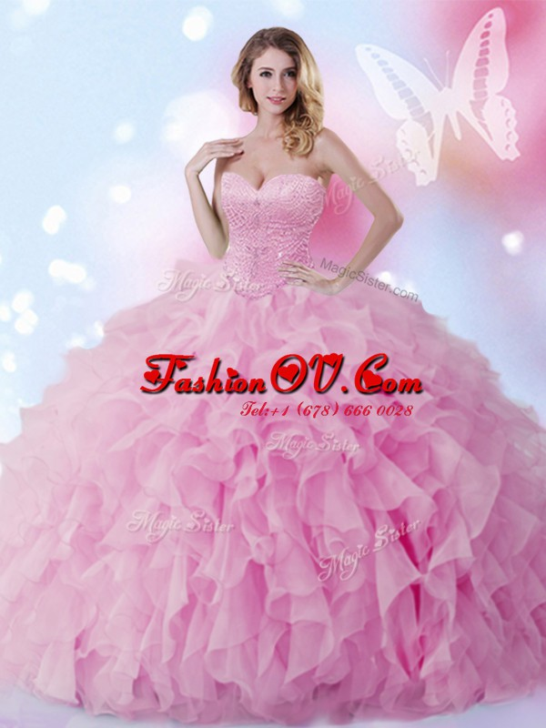 Superior Rose Pink Sweetheart Lace Up Beading and Ruffles Quinceanera Dress Sleeveless