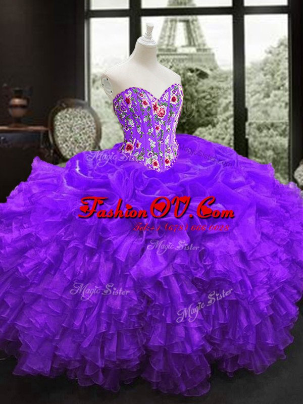 Vintage Sweetheart Sleeveless Organza Vestidos de Quinceanera Embroidery and Ruffles Lace Up