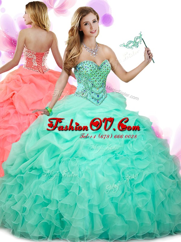 Nice Pick Ups Sweetheart Sleeveless Lace Up Quinceanera Dress Apple Green Organza