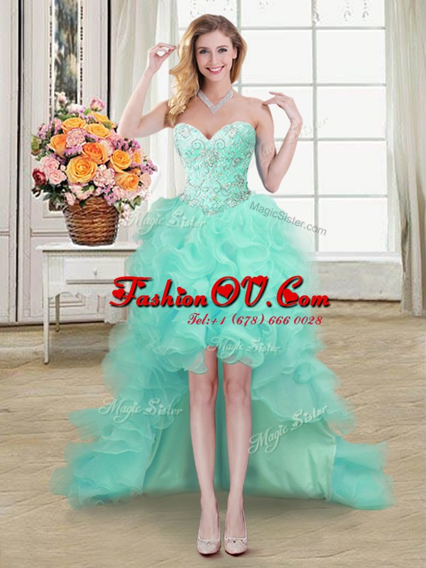 On Sale Apple Green A-line Sweetheart Sleeveless Organza High Low Lace Up Beading and Ruffles Prom Dresses