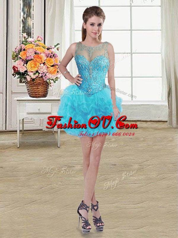 Sweet Scoop Baby Blue Tulle Lace Up Dress for Prom Sleeveless Mini Length Beading and Ruffles