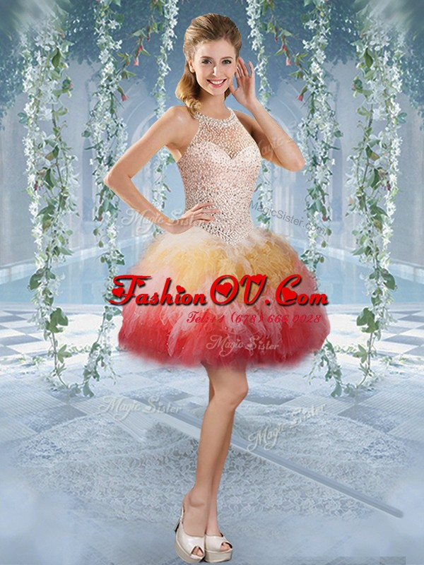 Multi-color Tulle Lace Up Halter Top Sleeveless Mini Length Prom Evening Gown Beading and Embroidery