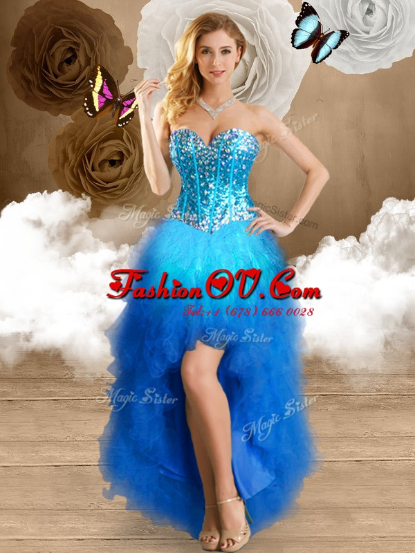 Luxury Ball Gowns Evening Dress Multi-color Sweetheart Tulle Sleeveless High Low Lace Up