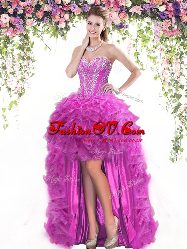 Artistic Sleeveless High Low Beading and Ruffles Lace Up Dress for Prom with Fuchsia