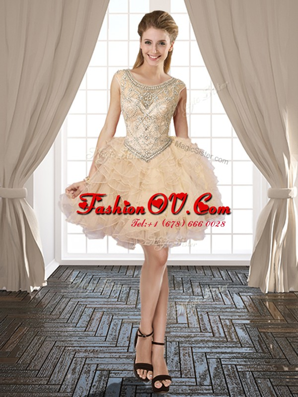 Scoop Champagne Sleeveless Organza Lace Up Cocktail Dress for Prom and Party