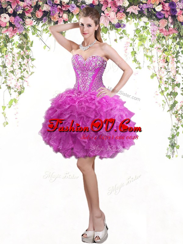 Fashion Mini Length Lace Up Dress for Prom Fuchsia for Prom and Party with Beading and Ruffles