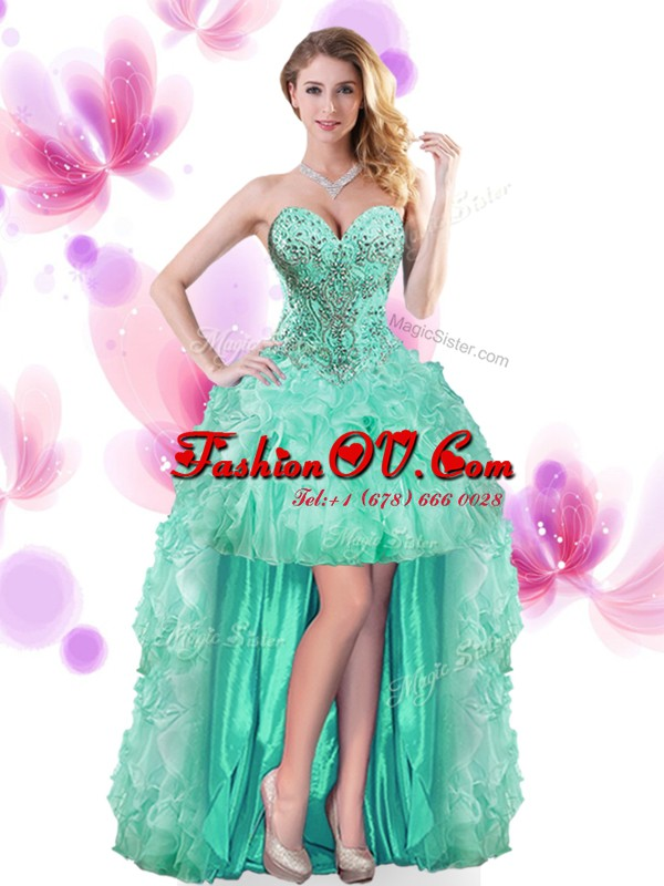 Stunning Beading and Ruffles Prom Dresses Turquoise Lace Up Sleeveless High Low