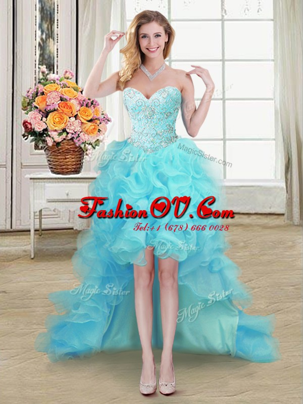 Aqua Blue A-line Beading and Ruffles Dress for Prom Lace Up Organza Sleeveless High Low