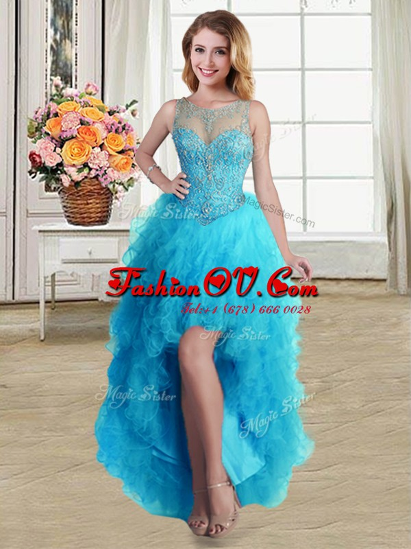 Latest Baby Blue Scoop Neckline Beading and Ruffles Evening Dress Sleeveless Lace Up