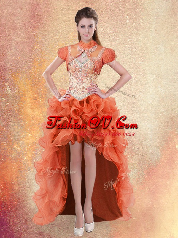 Straps Beading and Ruffles Prom Evening Gown Orange Red Lace Up Sleeveless High Low