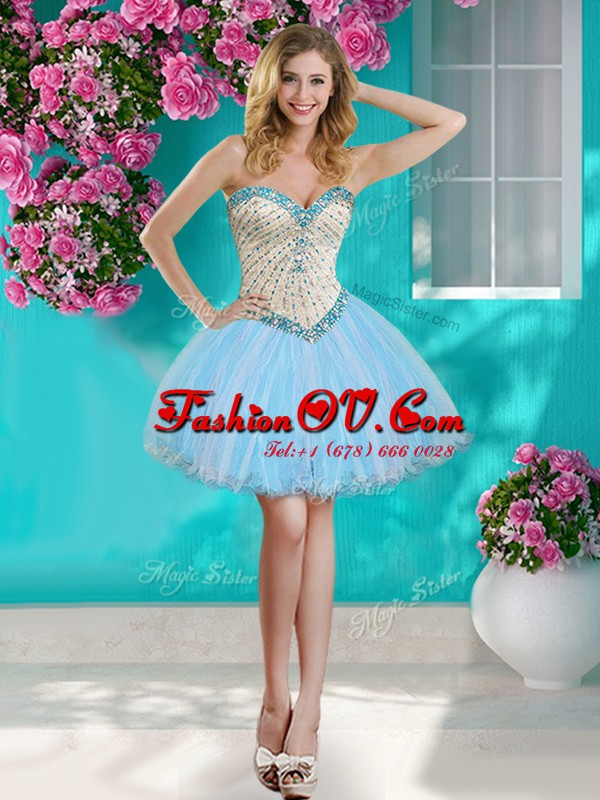 Mini Length Ball Gowns Sleeveless Baby Blue Dress for Prom Lace Up