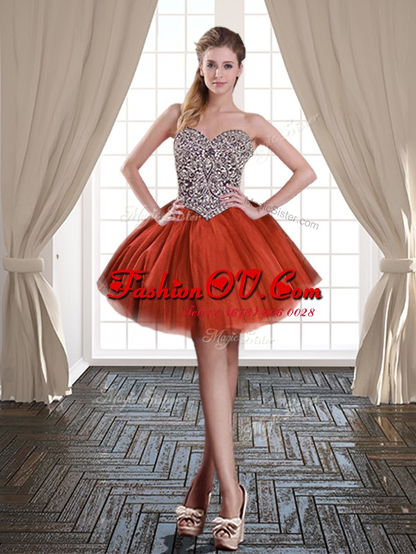 Sleeveless Tulle Mini Length Lace Up Cocktail Dresses in Rust Red with Beading