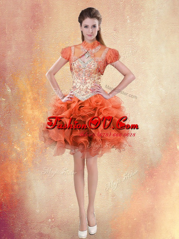 Spectacular Orange Red Organza Lace Up Straps Sleeveless Mini Length Prom Party Dress Beading and Ruffles