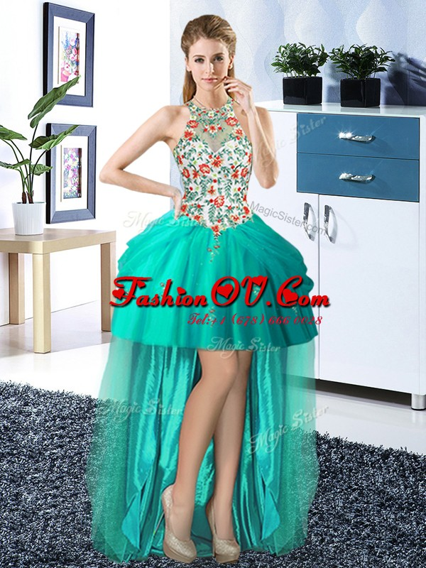 Turquoise Halter Top Lace Up Embroidery and Pick Ups Evening Dress Sleeveless
