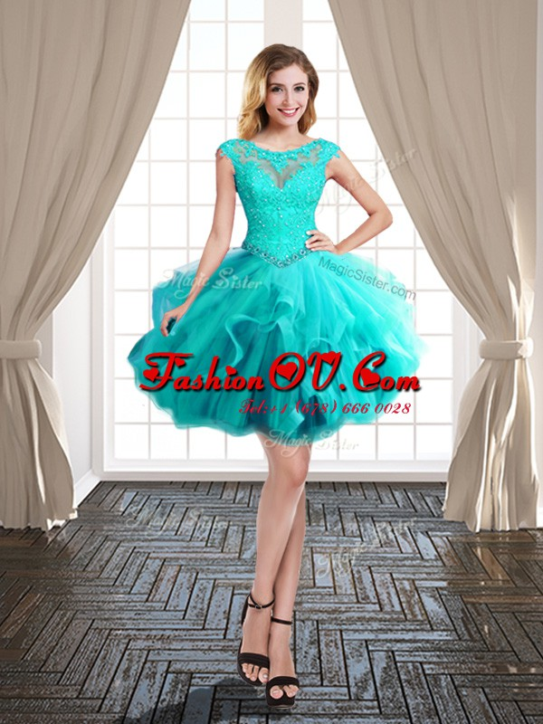 Turquoise Lace Up Scoop Beading and Ruffles Prom Dresses Tulle Cap Sleeves