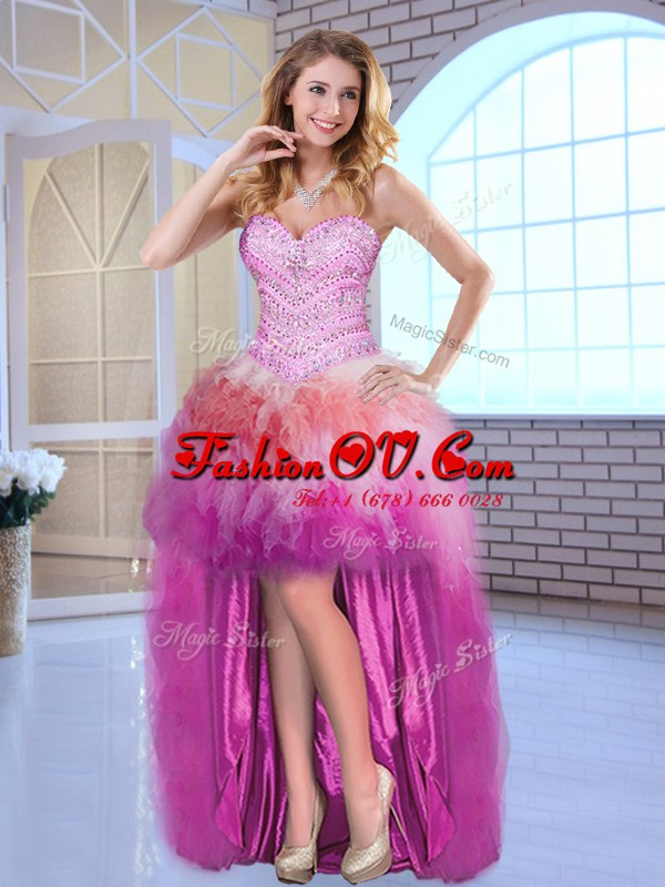 High Low Multi-color Evening Dress Tulle Sleeveless Beading