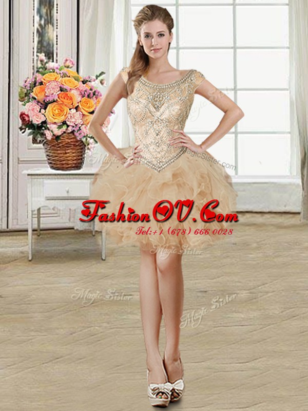 Scoop Champagne Sleeveless Mini Length Beading and Ruffles Lace Up Cocktail Dress