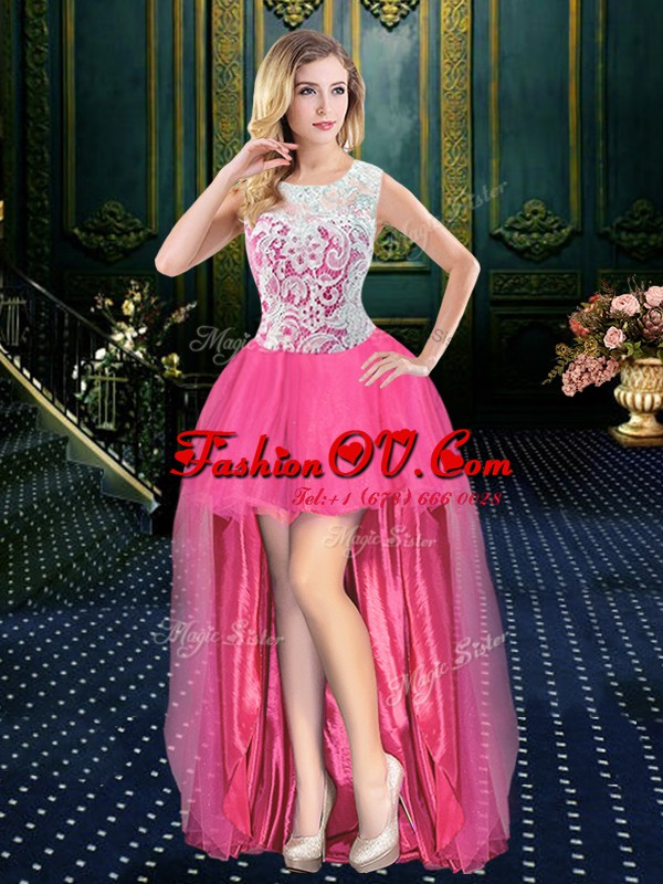Fantastic Scoop Sleeveless High Low Beading Zipper Dress for Prom with Hot Pink Brush Train
