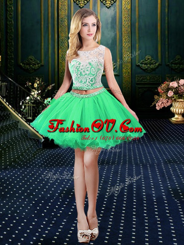 Enchanting A-line Organza Scoop Sleeveless Beading and Lace and Appliques Mini Length Lace Up Homecoming Dress