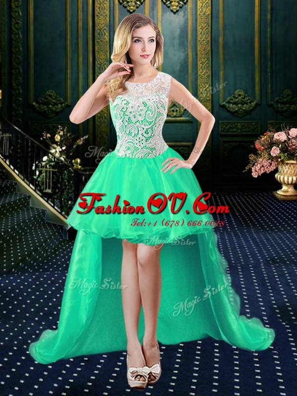 Amazing Turquoise Organza and Lace Zipper Scoop Sleeveless High Low Prom Evening Gown Lace