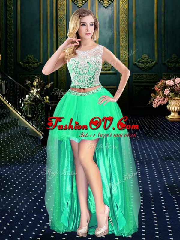 Scoop High Low Empire Sleeveless Turquoise Prom Dress Clasp Handle