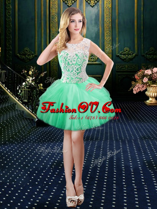 Scoop Lace Homecoming Dress Apple Green Lace Up Sleeveless Floor Length