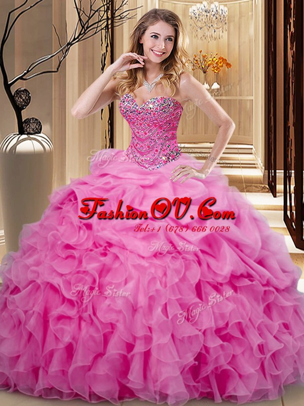 Fabulous Rose Pink Ball Gowns Beading and Ruffles and Pick Ups Quince Ball Gowns Lace Up Organza Sleeveless Floor Length