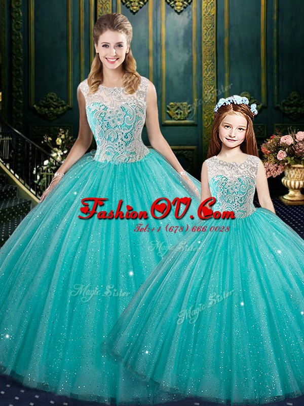 Attractive Turquoise Sleeveless Lace Floor Length Ball Gown Prom Dress
