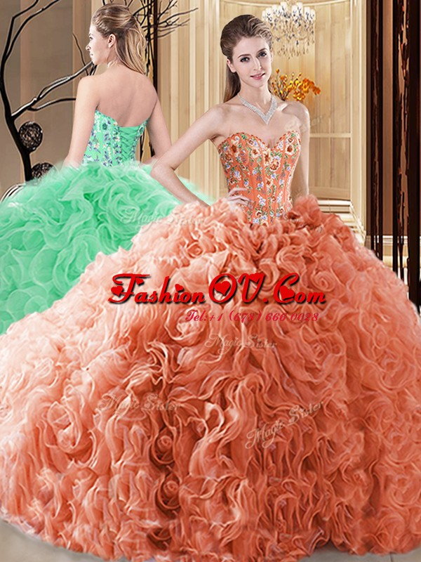 Fashion Orange Sweetheart Lace Up Embroidery and Ruffles Sweet 16 Dresses Sleeveless
