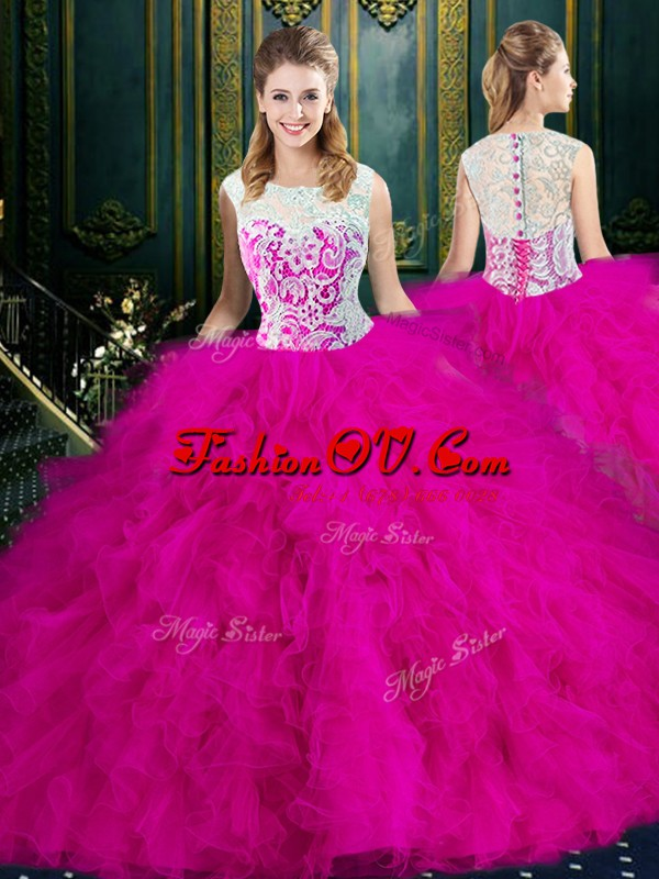 Fuchsia Ball Gowns Tulle Scoop Sleeveless Lace and Ruffles Floor Length Zipper Sweet 16 Quinceanera Dress