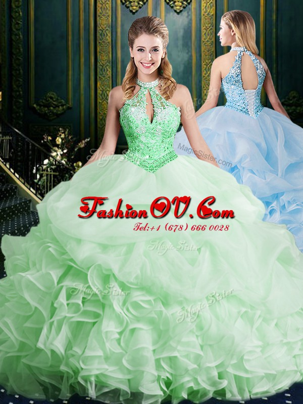 Halter Top Sleeveless Brush Train Beading and Lace and Appliques and Ruffles and Pick Ups Lace Up Quinceanera Gown