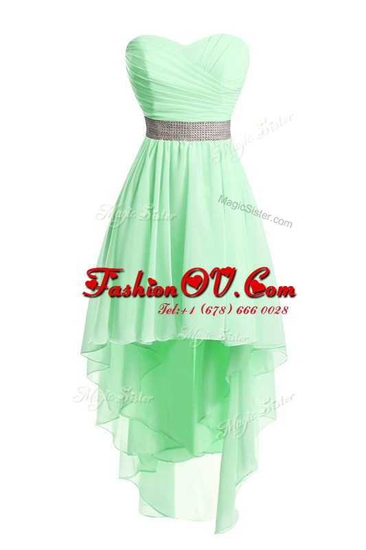 Green Empire Sweetheart Sleeveless Organza High Low Lace Up Belt Cocktail Dresses