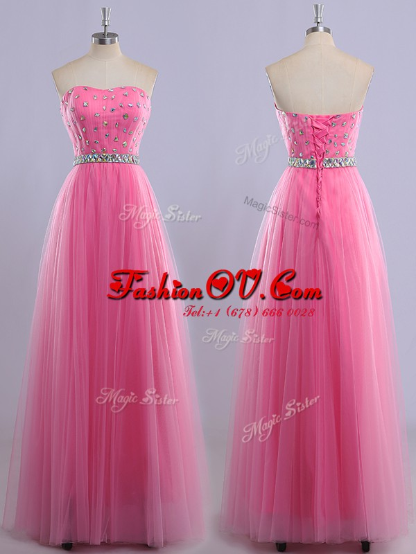 Graceful Sleeveless Beading Lace Up Prom Evening Gown