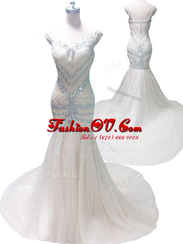Inexpensive Mermaid Straps Tulle Sleeveless With Train Evening Gowns Court Train and Beading