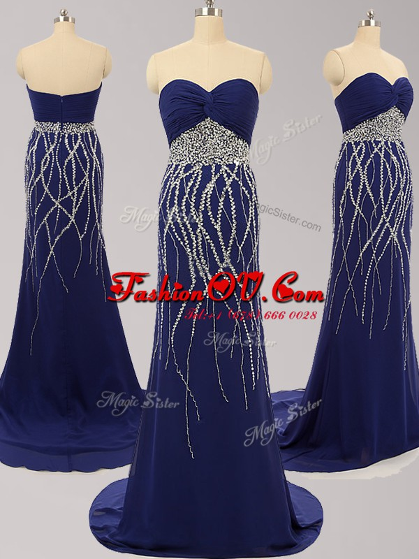 Eye-catching Zipper Evening Party Dresses Navy Blue for Prom with Beading Brush Train
