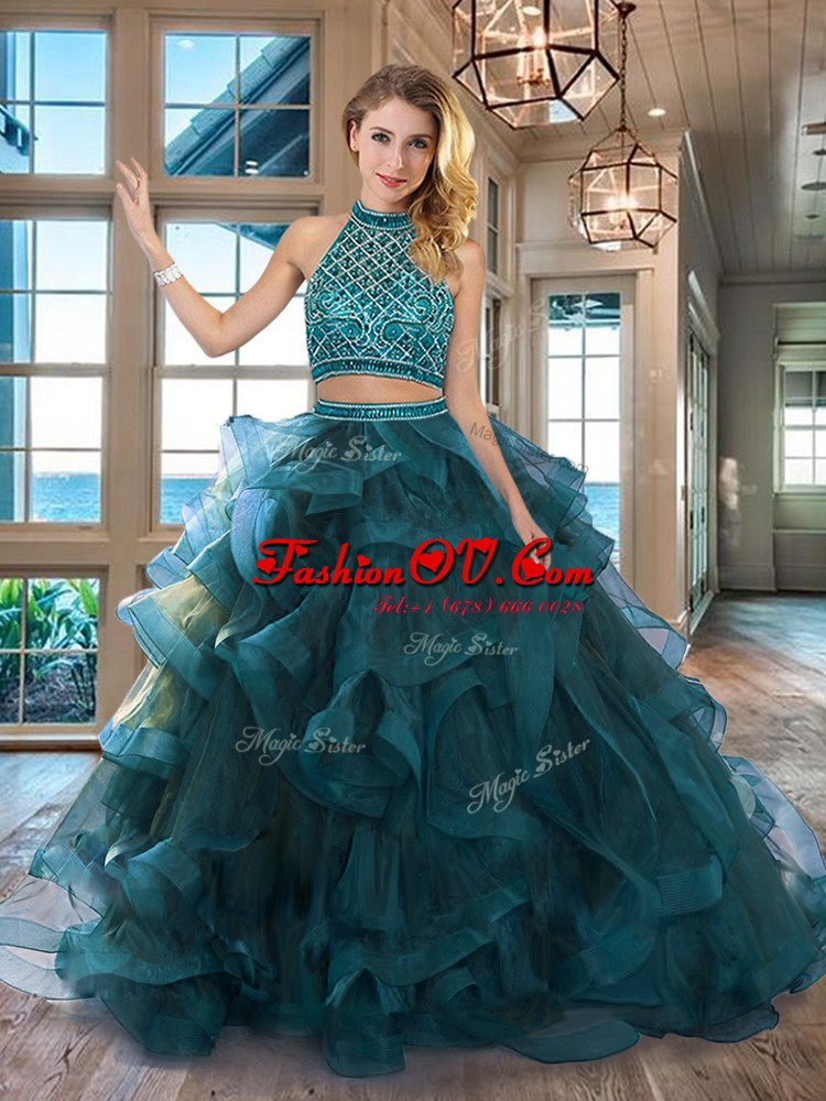 Dazzling Halter Top Backless Teal Vestidos de Quinceanera Tulle Brush Train Sleeveless Beading and Ruffles