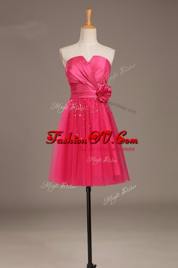 On Sale Coral Red Satin and Tulle Lace Up Cocktail Dress Sleeveless Knee Length Beading and Hand Made Flower