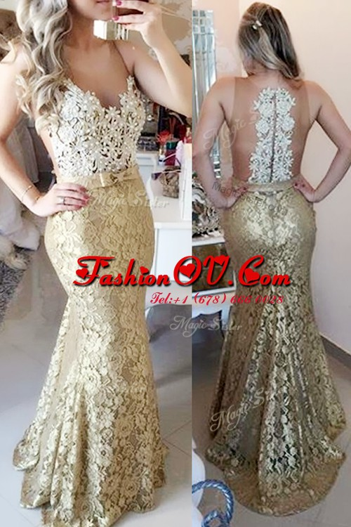 Glorious Gold Mermaid Lace Spaghetti Straps Sleeveless Lace and Belt Zipper Red Carpet Prom Dress Brush Train