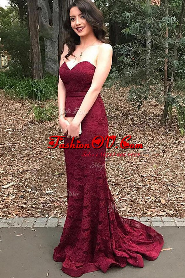 Elegant Mermaid Burgundy Sleeveless Lace Sweep Train Lace Up Evening Outfits for Prom