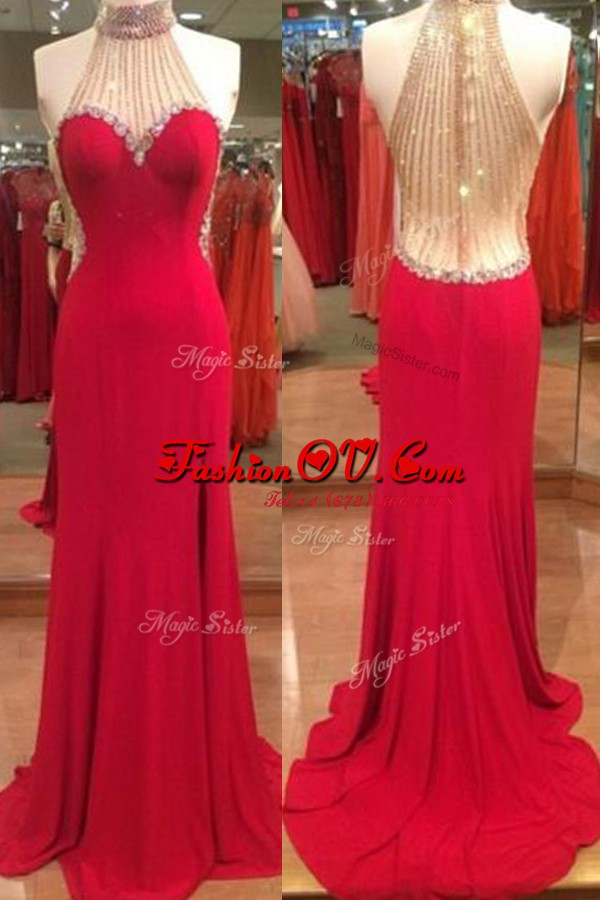 Elegant Red Mermaid Satin Halter Top Sleeveless Beading Floor Length Zipper Junior Homecoming Dress