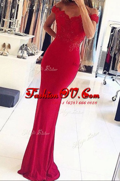 Mermaid Elastic Woven Satin Off The Shoulder Sleeveless Zipper Beading and Appliques Prom Gown in Red