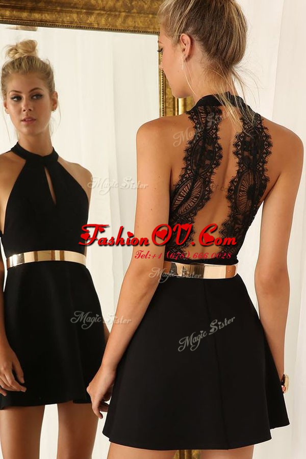 Halter Top Sleeveless Satin Mini Length Backless Club Wear in Black with Belt