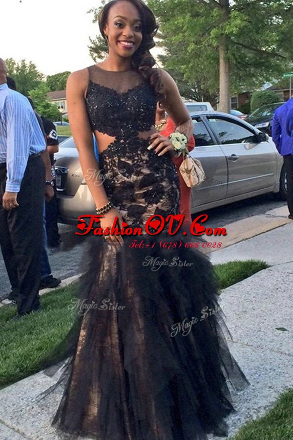 Mermaid Tulle Scoop Sleeveless Backless Beading and Lace Prom Party Dress in Black