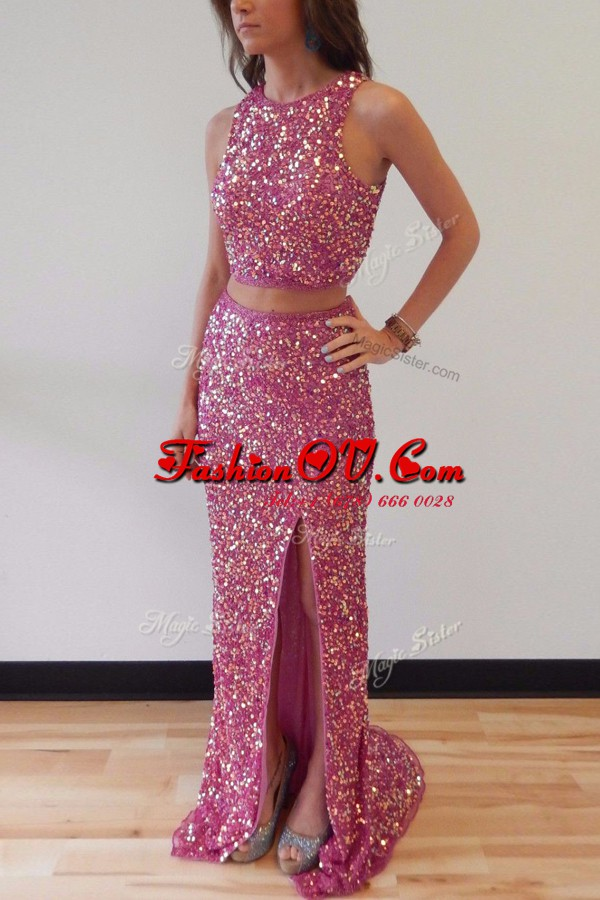 Artistic Lilac Mermaid Scoop Sleeveless Sequined Sweep Train Backless Sequins Hoco Dress