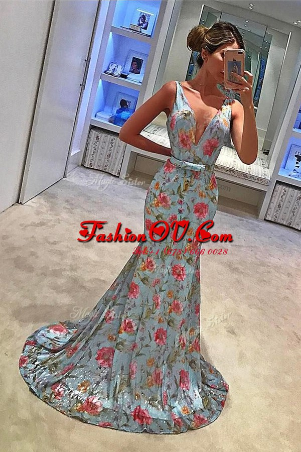 Mermaid Sleeveless With Train Bowknot Zipper Prom Dresses with Blue Sweep Train