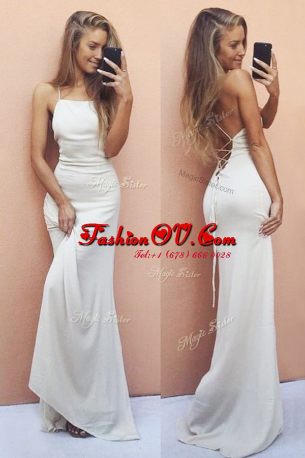 Decent White Ball Gowns Ruching Evening Dress Lace Up Chiffon Sleeveless With Train