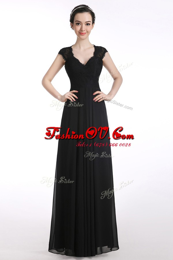 Black A-line V-neck Cap Sleeves Chiffon Floor Length Zipper Lace Homecoming Dresses