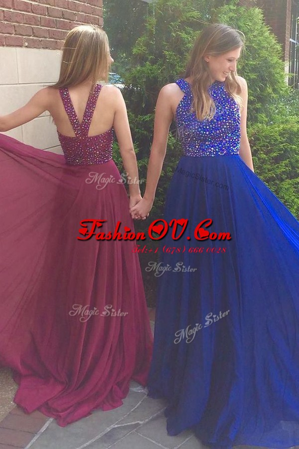 Scoop Royal Blue Side Zipper Hoco Dress Beading Sleeveless With Train Sweep Train