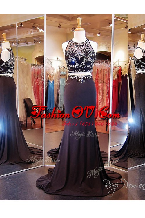 Scoop Sleeveless With Train Beading and Appliques Zipper Prom Dress with Black Brush Train