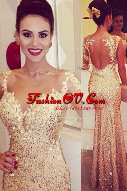 Sequins Floor Length Mermaid Long Sleeves Gold Homecoming Dress Backless